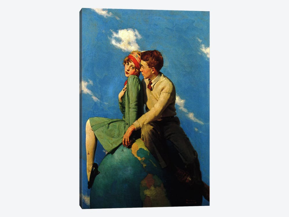 On Top of the World by Norman Rockwell 1-piece Canvas Artwork