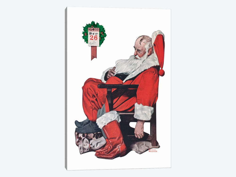 The Day after Christmas by Norman Rockwell 1-piece Canvas Print