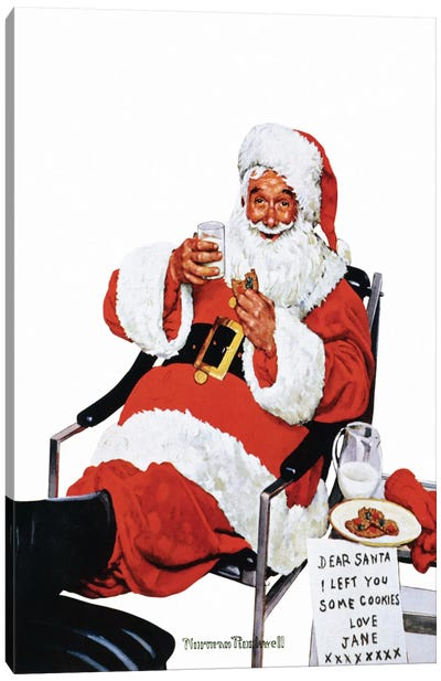 Santa Eating Milk and Cookies Canvas Print #NRL159