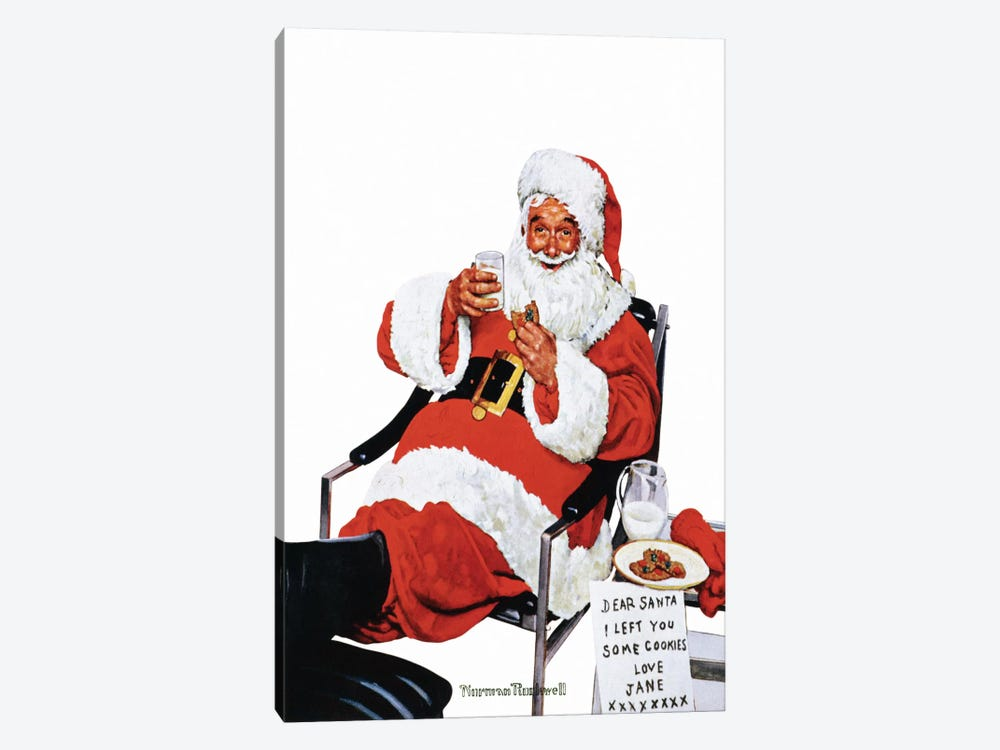Santa Eating Milk and Cookies by Norman Rockwell 1-piece Canvas Art