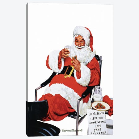 Santa Eating Milk and Cookies Canvas Print #NRL159} by Norman Rockwell Art Print