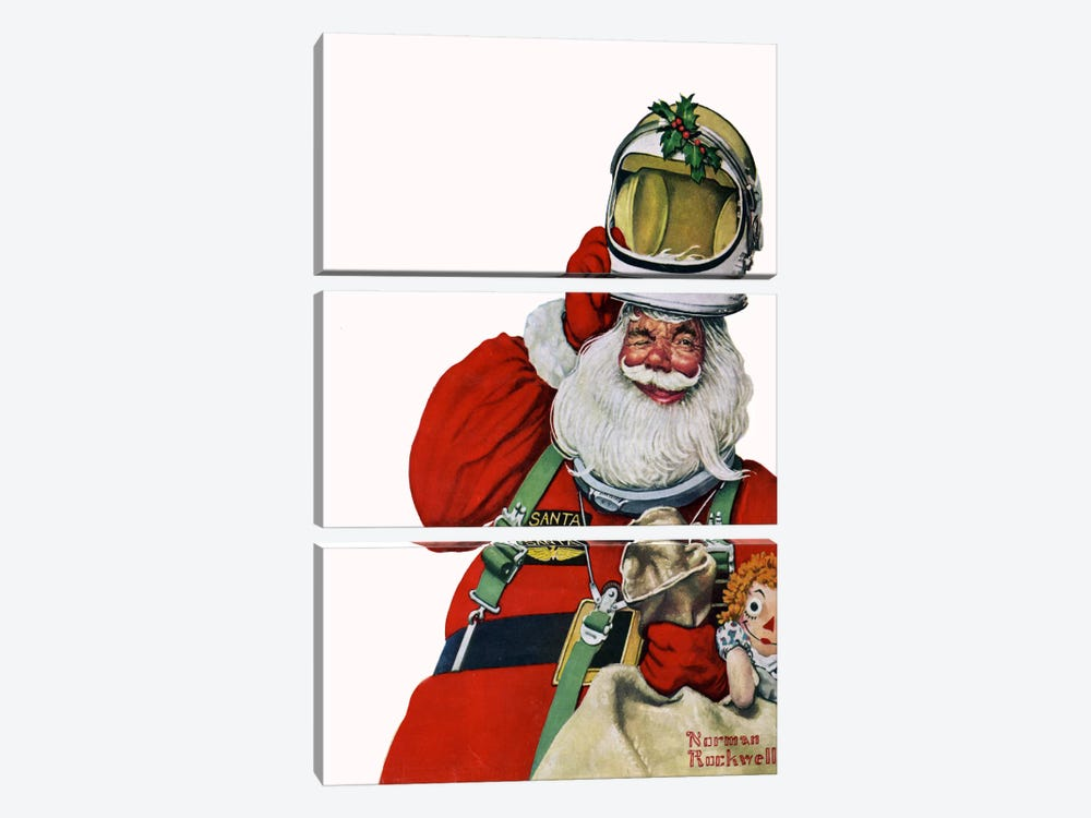 Space Age Santa by Norman Rockwell 3-piece Canvas Artwork