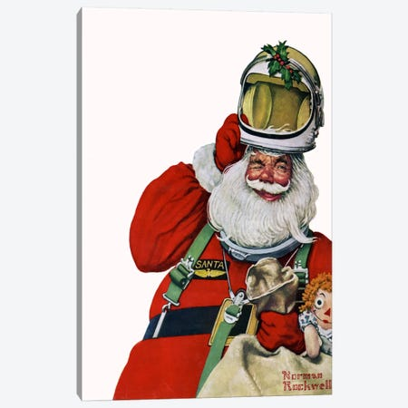 Space Age Santa Canvas Print #NRL160} by Norman Rockwell Canvas Wall Art