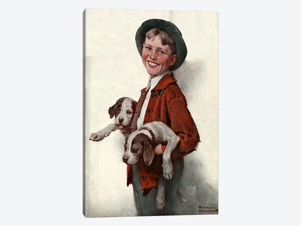 Boy with Puppies by Norman Rockwell 1-piece Canvas Wall Art