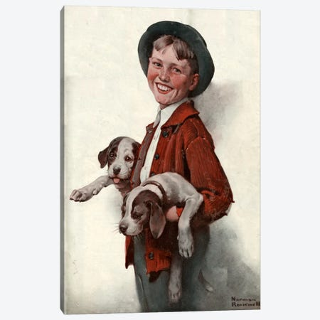 Boy with Puppies Canvas Print #NRL162} by Norman Rockwell Canvas Art