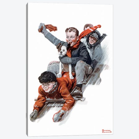 Four Boys on a Sled Canvas Print #NRL166} by Norman Rockwell Canvas Print