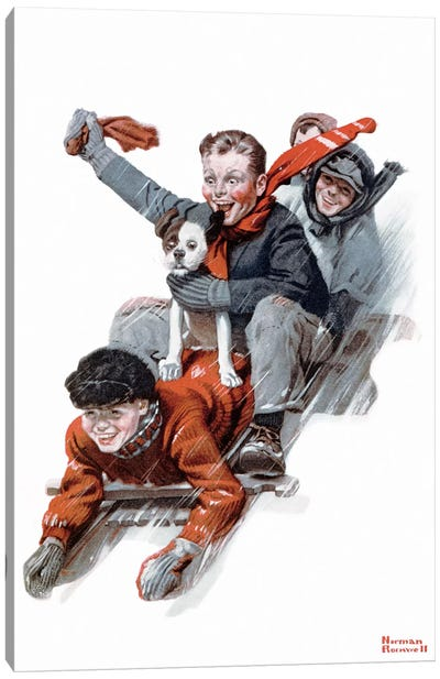 Four Boys on a Sled Canvas Print #NRL166