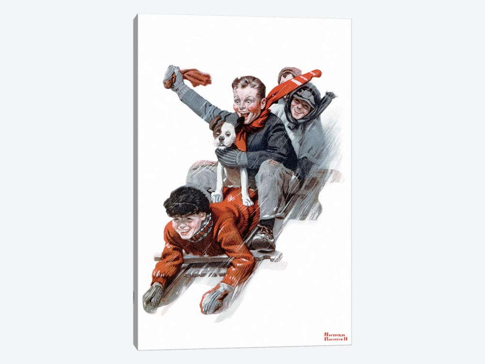 Four Boys on a Sled by Norman Rockwell 1-piece Canvas Wall Art