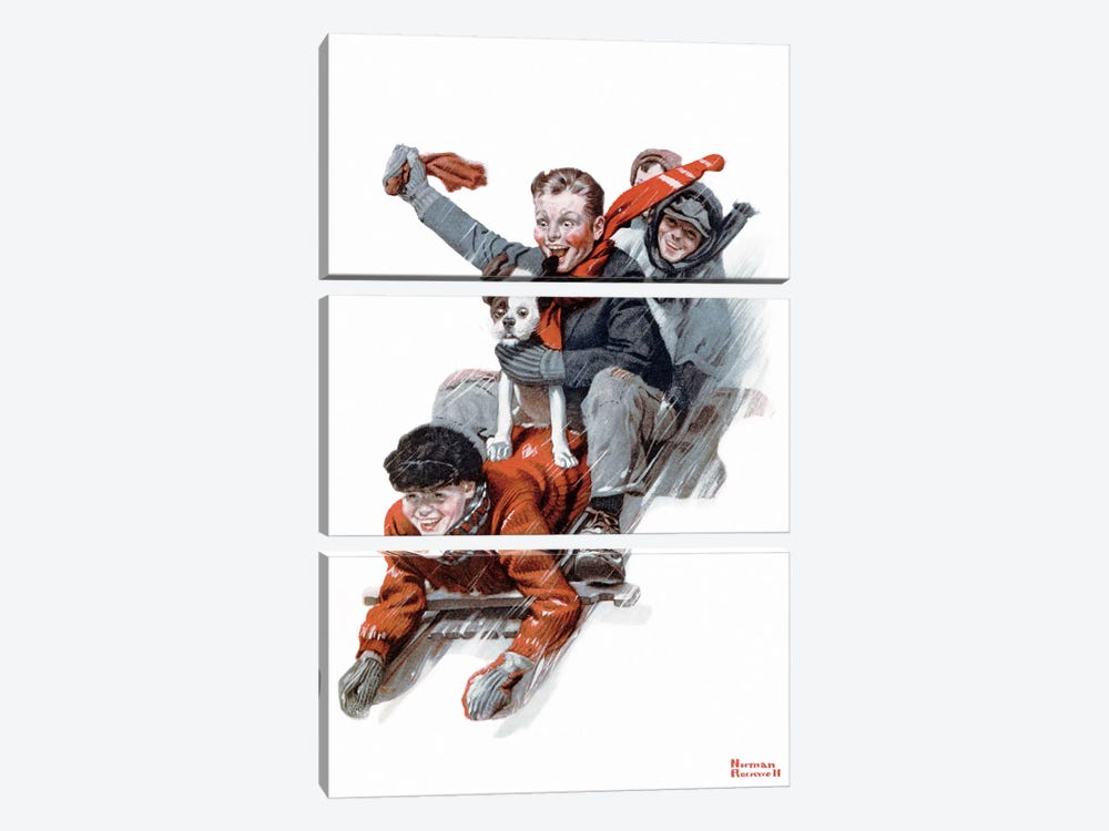 Four Boys on a Sled by Norman Rockwell 3-piece Canvas Artwork