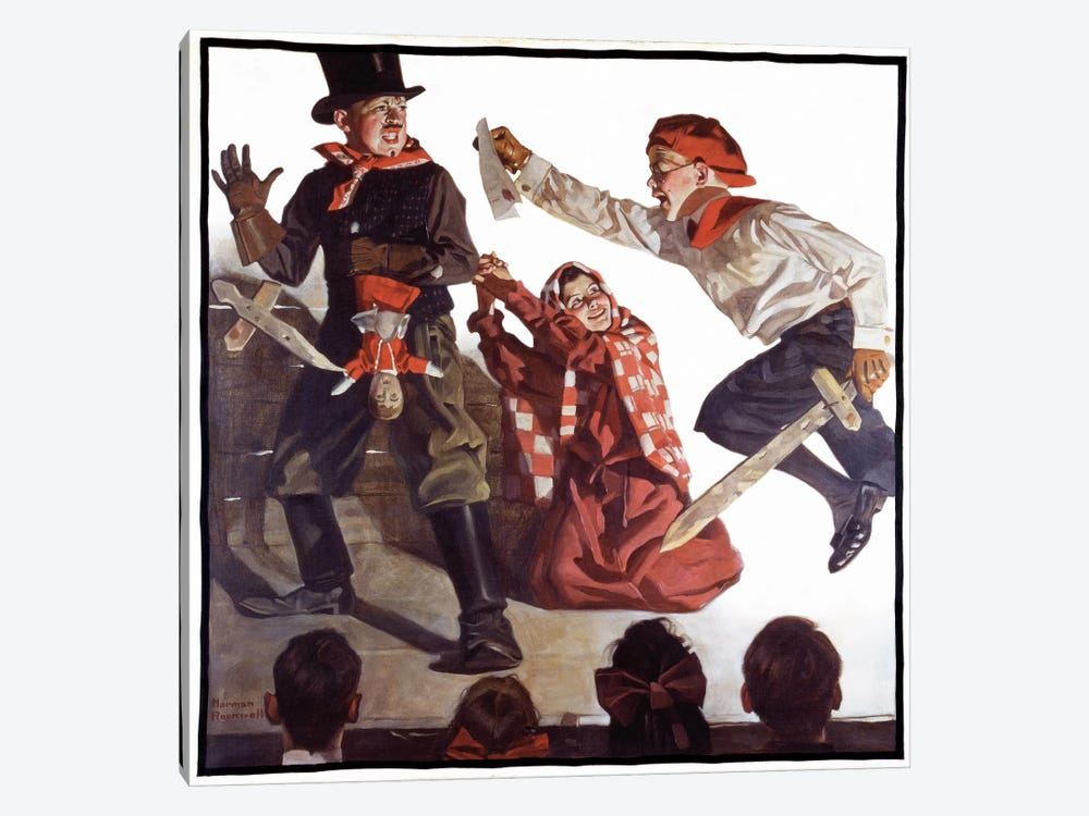 School Play by Norman Rockwell 1-piece Canvas Print