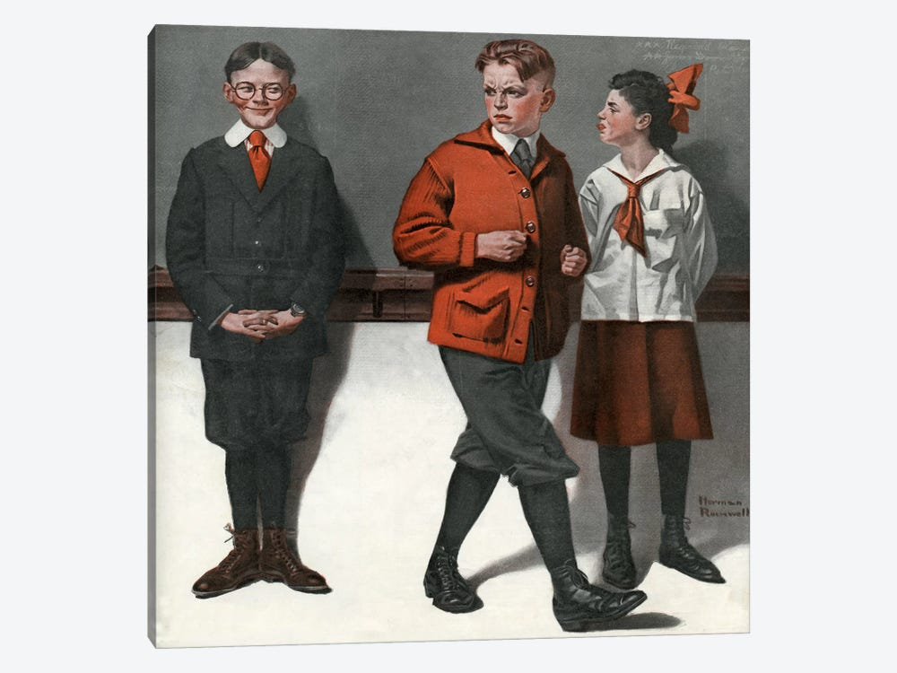 Spelling Bee by Norman Rockwell 1-piece Canvas Art