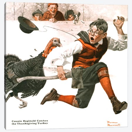 Cousin Reginald Catches the Thanksgiving Turkey Canvas Print #NRL169} by Norman Rockwell Canvas Artwork