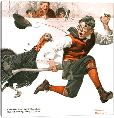 Cousin Reginald Catches the Thanksgiving Turkey Canvas Art Print