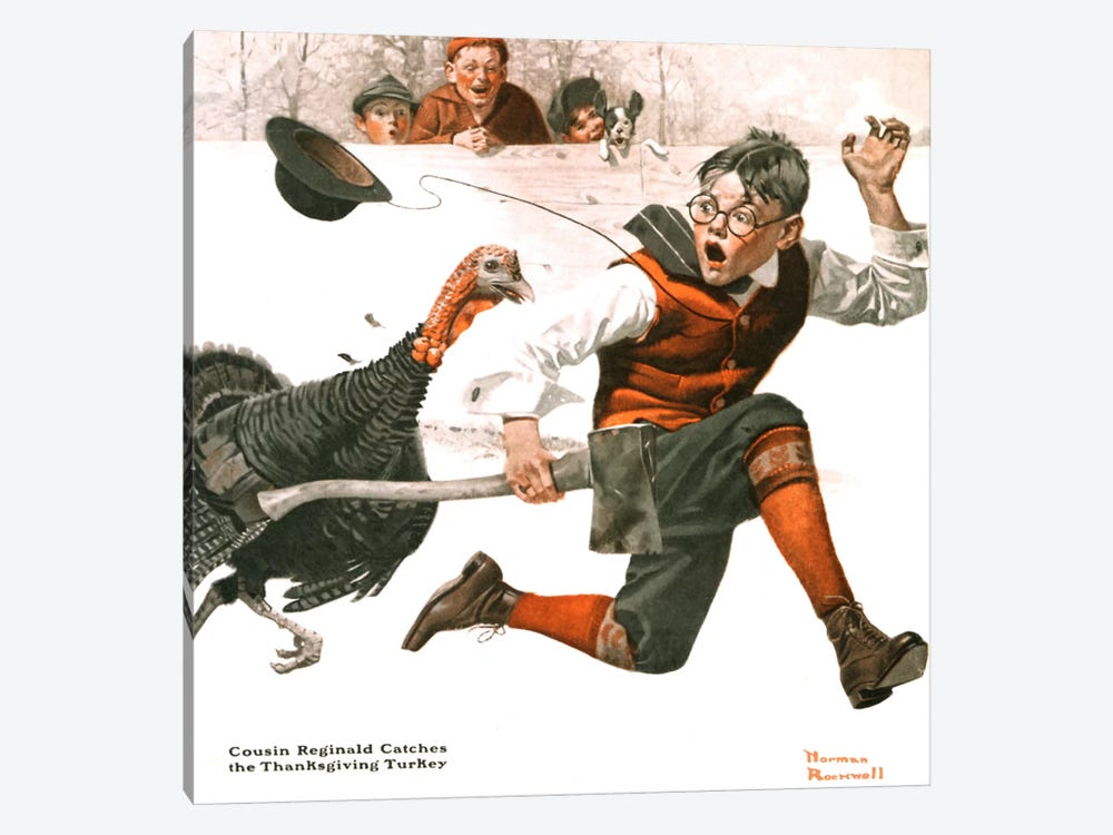 Cousin Reginald Catches the Thanksgiving Turkey by Norman Rockwell 1-piece Art Print