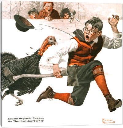 Cousin Reginald Catches the Thanksgiving Turkey Canvas Art Print