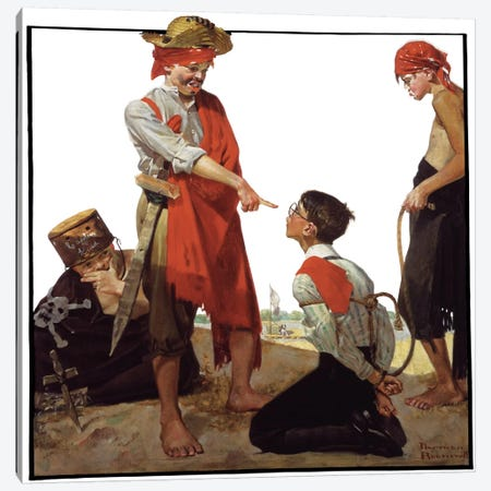 Cousin Reginald Plays Pirates Canvas Print #NRL170} by Norman Rockwell Canvas Print
