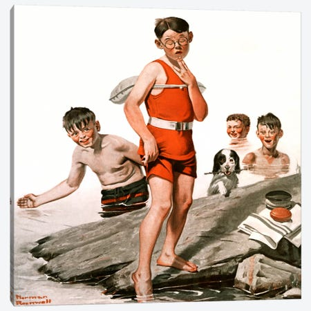 Cousin Reginald Goes Swimming Canvas Print #NRL172} by Norman Rockwell Art Print