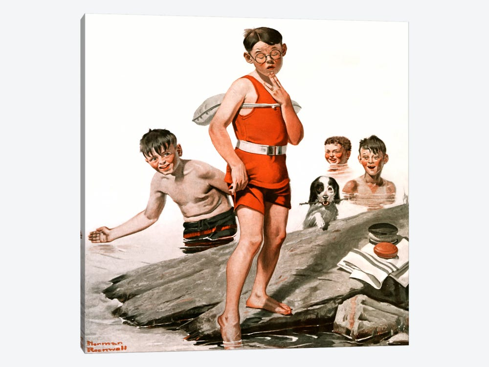 Cousin Reginald Goes Swimming by Norman Rockwell 1-piece Canvas Print