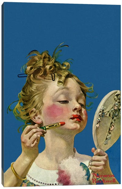 Little Girl with Lipstick by Norman Rockwell Canvas Artwork