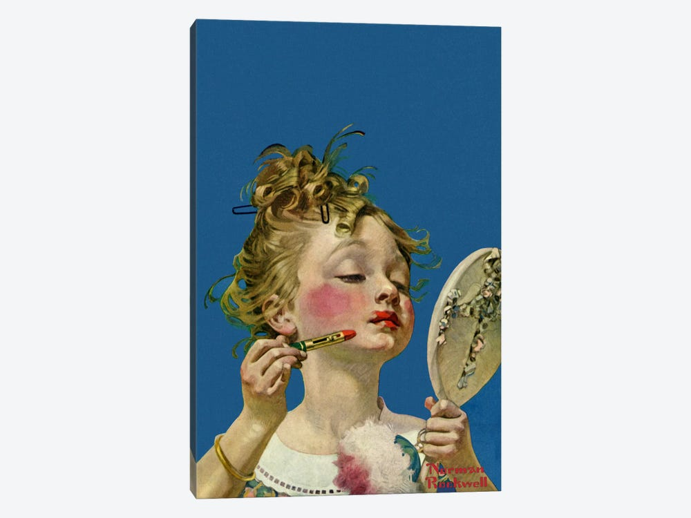 Little Girl with Lipstick by Norman Rockwell 1-piece Canvas Art