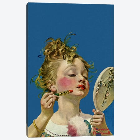 Little Girl with Lipstick Canvas Print #NRL177} by Norman Rockwell Canvas Artwork