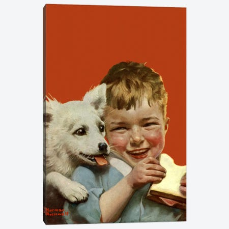 Laughing Boy with Sandwich and Puppy Canvas Print #NRL178} by Norman Rockwell Canvas Art Print