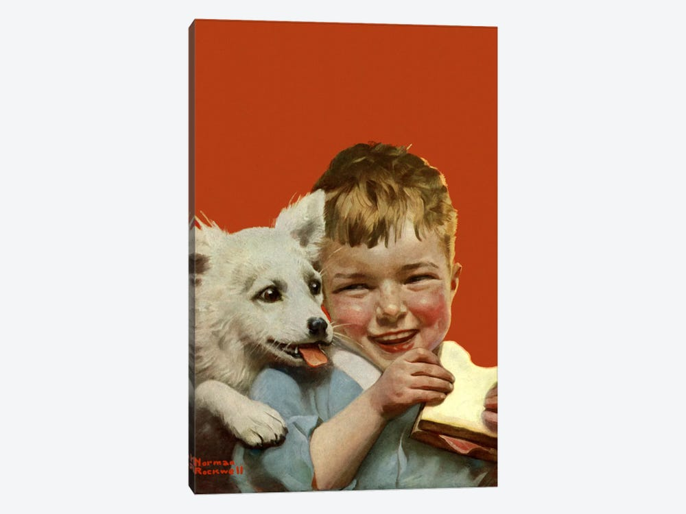 Laughing Boy with Sandwich and Puppy by Norman Rockwell 1-piece Canvas Art Print