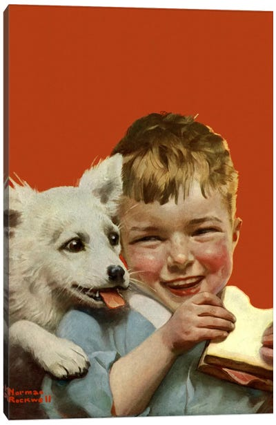 Laughing Boy with Sandwich and Puppy Canvas Art Print
