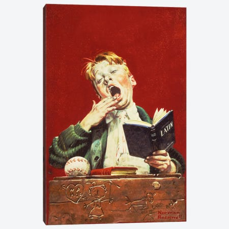 The Sleepy Scholar Canvas Print #NRL179} by Norman Rockwell Canvas Print