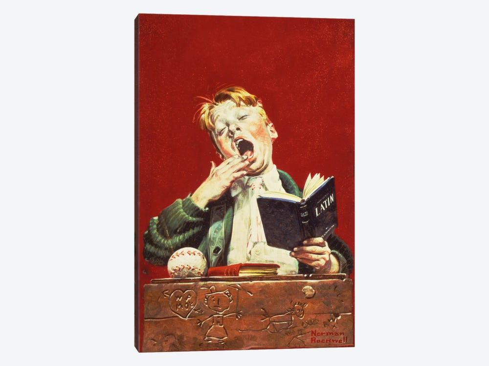 The Sleepy Scholar by Norman Rockwell 1-piece Canvas Art