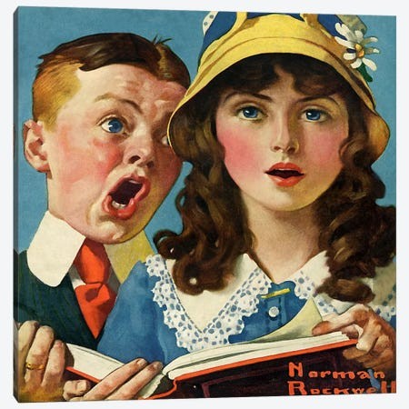 Boy and Girl Singing Canvas Print #NRL180} by Norman Rockwell Canvas Artwork