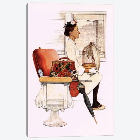 Willie Was Different 'He and Miss Polly were settled aboard' Canvas Print #NRL183} by Norman Rockwell Canvas Artwork