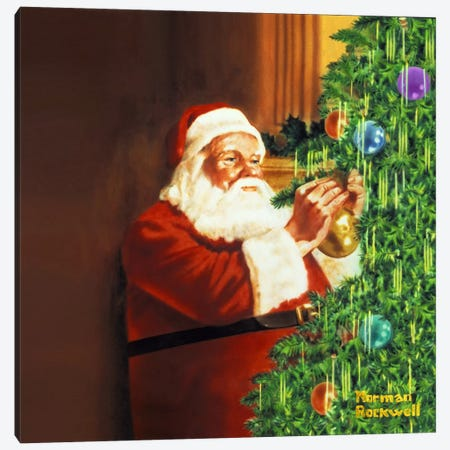 Holiday Greeting Canvas Print #NRL189} by Norman Rockwell Canvas Wall Art