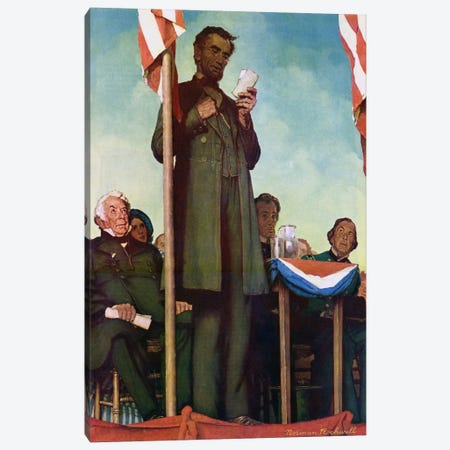 Abraham Lincoln Delivering the Gettysburg Address Canvas Print #NRL18} by Norman Rockwell Canvas Print
