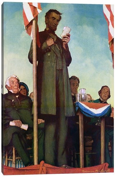 Abraham Lincoln Delivering the Gettysburg Address by Norman Rockwell Canvas Print