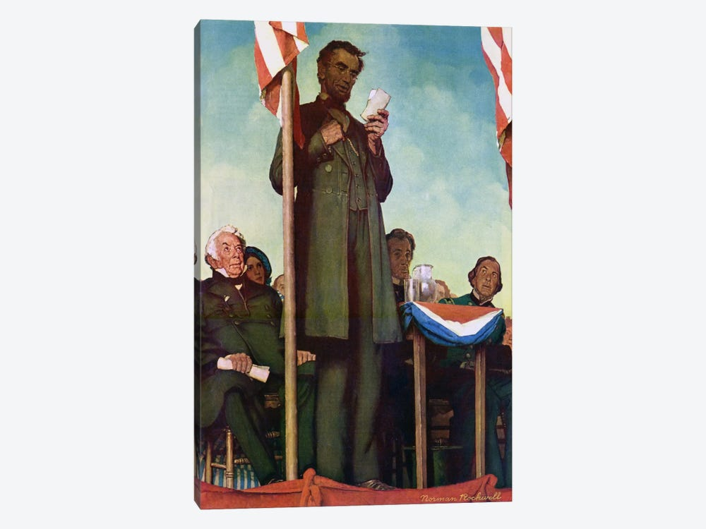 Abraham Lincoln Delivering the Gettysburg Address by Norman Rockwell 1-piece Canvas Artwork