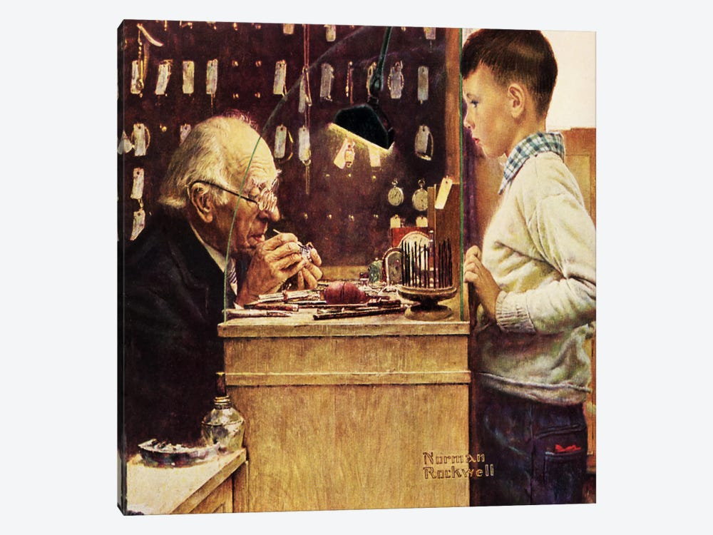 What Makes It Tick? by Norman Rockwell 1-piece Canvas Art