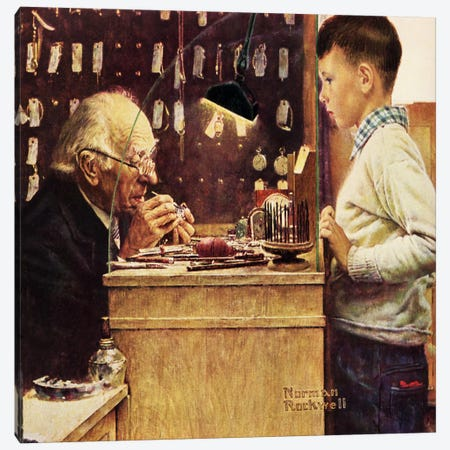 What Makes It Tick? Canvas Print #NRL191} by Norman Rockwell Canvas Art Print