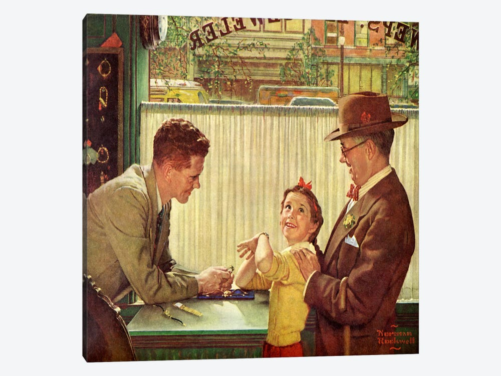 The Jewelry Shop by Norman Rockwell 1-piece Canvas Art Print