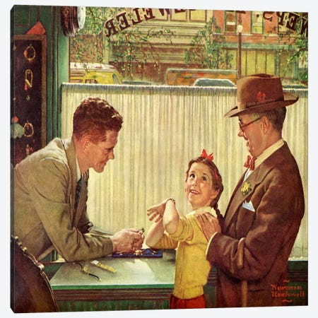 The Jewelry Shop Canvas Print #NRL192} by Norman Rockwell Canvas Art Print