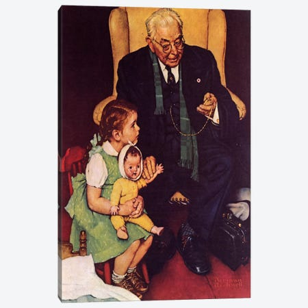 Doctor and Doll Canvas Print #NRL194} by Norman Rockwell Canvas Artwork