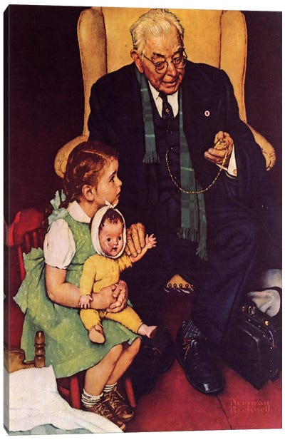 Doctor and Doll by Norman Rockwell Canvas Artwork