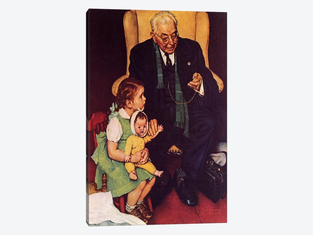 Doctor and Doll by Norman Rockwell 1-piece Canvas Art Print