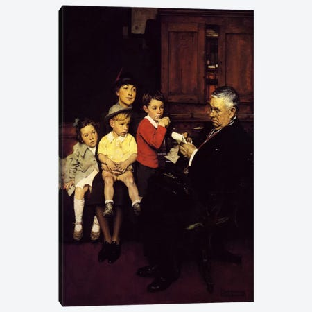 When the Doctor Treats Your Child Canvas Print #NRL196} by Norman Rockwell Canvas Wall Art