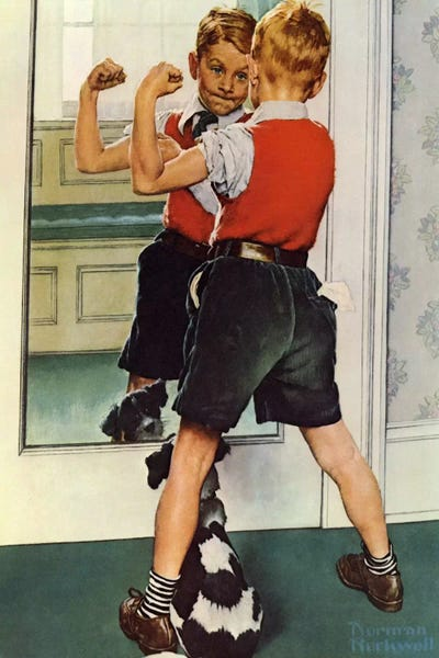 The Muscleman Close Up Canvas Wall Art By Norman Rockwell