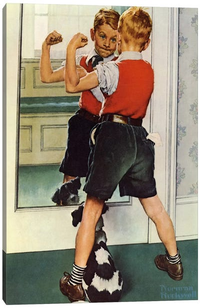 The Muscleman Close-up by Norman Rockwell Canvas Art