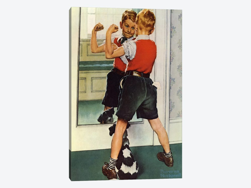 The Muscleman Close-up by Norman Rockwell 1-piece Canvas Artwork