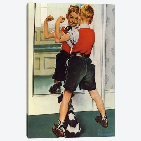 The Muscleman Close-up Canvas Print #NRL197} by Norman Rockwell Canvas Art
