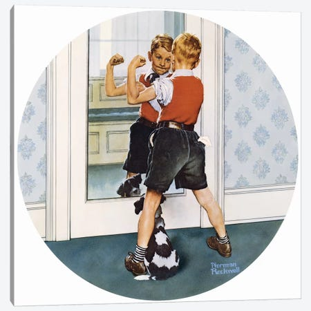 The Muscleman Canvas Print #NRL198} by Norman Rockwell Art Print