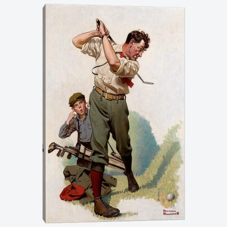 The Golfer Canvas Print #NRL1} by Norman Rockwell Canvas Wall Art